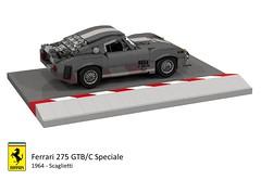 Ferrari 275 GTB/C Speciale (1964 - Scaglietti) (lego911) Tags: auto italy classic car model italian lego render under over ferrari million challenge lemans thousand 1964 cad racer lugnuts speciale gtb 89 povray 275 v12 moc scaglietti ldd miniland gtbc lego911 overamillionunderathousand