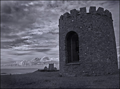 Looking out to the West (Aimless Alliterations) Tags: ocean uk bw church coast somerset uphill beacon weston bristolchannel canonpowershota610
