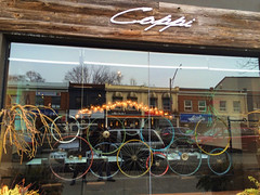 Cappi (nancy rae) Tags: toronto bike reflections wheels windowdisplay windowfront torontoontario cappi bicyclewheels faustocoppi