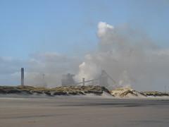 Dune haze (Nekoglyph) Tags: blue industry beach grass coast sand steel smoke dunes cleveland steam teesside redcar blastfurnace coatham seacoal