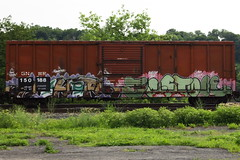 Huher Fostoe (BombTrains) Tags: road railroad art train bench graffiti iron paint tag graf rail spray crew jaws giants graff freight booyah fr8 gnwr benching zess 150188 huher fostoe bewc