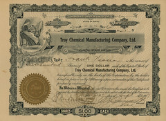 Troy Chemical Manufacturing Company, Ltd., Stock Certificate, 1907 - Troy, Idaho (Shook Photos) Tags: wood timber stock certificate troy idaho charcoal investment share tar creosote byproduct invest distillation byproducts shares investing forestproducts stockcertificate troyidaho latahcounty woodproducts troychemicalmanufacturingcompany