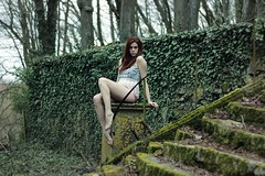 Cathel. (Nicolas Fourny photographie) Tags: portrait stairs forest canon 50mm model woods outdoor decay lingerie redhead portraiture beautifulwoman redhair decayed decaying beautifulgirl beautifuldecay girlportrait 600d womanportrait