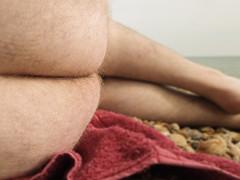 cheek (scottfowler1172) Tags: sea selfportrait colour public self nude seaside pebbles bum sensual co malenude selfprotrait buttucks