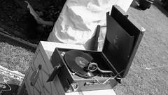 gramophone 01 (byronv2) Tags: park blackandwhite bw music history monochrome vintage scotland blackwhite edinburgh antique album meadows recordplayer record gramophone hmv edimbourg meadowsfestival portablegramophone meadowsfestival2016