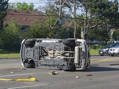Accident- Car 1 and Spare Tire (scott3eh) Tags: accident finch toronto 2016 may rollover