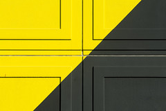 Black and yellow wall (Jan van der Wolf) Tags: abstract black colors lines yellow architecture cross symmetry symmetric geel zwart lijnen kruis symmetrie heesterveld map15193v