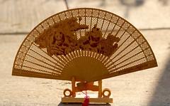 Chinese Panda Fan (BetsyW444) Tags: china california wood silhouette fan panda eastbay sfbayarea fans goldenhour woodenfan carvedfan etchedfan