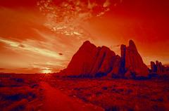 Sunrise on Mars (Ursa Davis) Tags: road park trip travel blue red mars usa nature america photoshop sunrise landscape photography utah photo united alien creative arches roadtrip national planet states davis ursa interpretation
