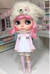We love pink. Little pink doggie  (Aya_27) Tags: plastic cute rbl dollie doll puppy doggie hat mimsy licca blythe stripes dress overalls outfit petitecreations petitecreayations
