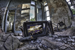 DIY SOS (D-W-J-S) Tags: broken television neglect hospital diy tv fife room screen fisheye tokina sos strathmore derelict fever 1017mm