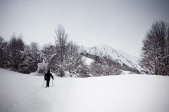 Snowshoeing in Alps mountains (Zeeyolq Photography) Tags: winter mountain snow france alps nature alpes holidays alone adventure snowshoeing neige montagnes randonne rhnealpes raquettes albiezmontrond