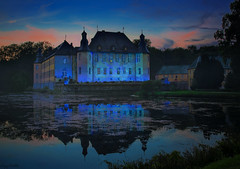 Blue Illuminated Castle (dipphotos) Tags: castle illumina germany schlossdyck blue sunset reflections bluehour water dipphotos schloss lightshow colored nightshot