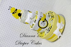 Bee Baby Diaper Cake Centerpiece Shower Gift Who will it (2) (Dianna's Diaper Cakes) Tags: baby diaper cakes shower centerpieces gifts boys girls neutral diannas decoration