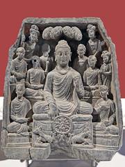 Le premier Sermon du Bouddha, art du Gandhara (Museum CSMVS, Mumbai, Inde)