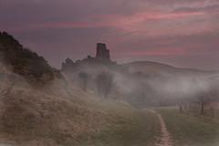 CORFE CASTLE (mark_rutley) Tags: england sky mist castle history misty fog clouds sunrise ancient path oldbuildings civilwar dorset corfe nationaltrust corfecastle englishcivilwar