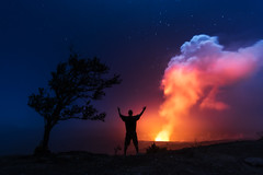 Celebrating Kilauea (Mike Mezeul II Photography) Tags: life travel sky night island fire volcano hawaii lava big smoke explore crater caldera hilo celebrate kilauea active volcanoesnationalpark