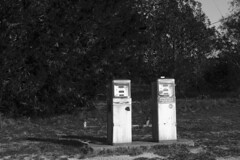 Gas Station Remnants (Old) (treyperry) Tags: old bw gulf gas oil fuel gaspump gulfoil