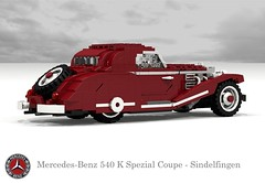 Mercedes-Benz 540K Spezial Coupe - Sindelfingen (1936) (lego911) Tags: auto classic car k 1936 germany mercedes benz 1930s model lego render under over special german mercedesbenz million coupe challenge thousand cad 540 w29 89 sindelfingen povray moc ldd miniland spezial 540k 130944 lego911 overamillionunderathousand