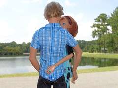 Love Bubble (larry_boy17) Tags: park blue trees lake cute love nature water clouds outside outdoors couple doll dolls ken barbie husband ring redhead jeans rings blond harleydavidson wife plaid articulated midge jointed