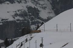 Triebwagen BDhe 4/4 121 der Wengernalpbahn WAB ( Baujahr 1970 => Zahnradbahn - Schmalspur 800mm => Hersteller SIG - SLM - SAAS - BBC ) unterhalb der Kleinen Scheidegg im Berner Oberland im Kanton Bern der Schweiz (chrchr_75) Tags: train de tren schweiz switzerland suisse swiss eisenbahn railway zug april locomotive cogwheel christoph svizzera bahn zahnrad treno schweizer chemin centralstation fer locomotora tog crmaillre juna lokomotive lok ferrovia bergbahn cremallera spoorweg suissa 2015 zahnradbahn locomotiva lokomotiv ferroviaria  locomotief chrigu  rautatie  mountaintrain bahnen zoug trainen  chrchr hurni chrchr75 chriguhurni albumbahnenderschweiz chriguhurnibluemailch albumbahnenderschweiz201516 albumzzz201504april