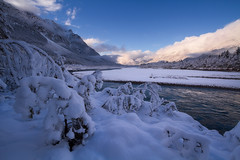 wadding (David Sonnweber) Tags: morning blue winter white mountain snow alps cold ice water sunrise river austria tirol mood outdoor hiking explore tyrol wadding