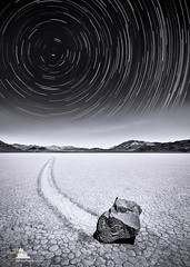 Mystic Trails (www.fourcorners.photography) Tags: movingrocks rock flat dry night starttrails racetrackplaya deathvalley deathvalleynationalpark california peterboehringerphotography blackandwhite fourcornersphotography