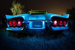 Following the Tbird (Aztravelgrl (Forgotten Places Photography)) Tags: longexposure nightphotography usa lightpainting cars abandoned car night goat idaho abandon junkyard