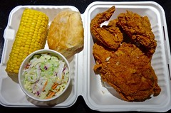 3 piece with 2 sides at Happy Donut/Louisiana Fried Chicken in SOMA (Fuzzy Traveler) Tags: chicken corn biscuit donuts slaw soma cob fried friedchicken happydonut