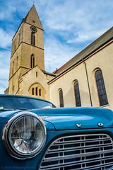Volvo in Eguisheim (Javier Palacios Prieto) Tags: auto sky cloud france tower church car volvo torre tour kirche himmel wolke coche cielo alsace turm eglise nube