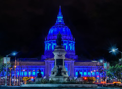 city hall illuminated in blue for autism awareness month (pbo31) Tags: sanfrancisco california city blue urban black color night dark spring nikon traffic cityhall may illuminated bayarea civiccenter tenderloin roadway 2016 lightstream autismawareness boury pbo31 d810