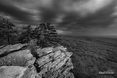 Dark Cloud Dusk B&W (kevin-palmer) Tags: trees blackandwhite cliff storm monochrome evening spring view dusk scenic may maryland stormy foliage vista appalachiantrail appalachianmountains southmountainstatepark annapolisrock tokina1628mmf28 nikond750