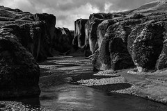 here there be dragons ... (lunaryuna) Tags: bw monochrome river landscape blackwhite iceland rocks canyon gorge lunaryuna rockformations southeasticeland fjadrargljufurrivercanyon