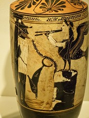 Closeup of a Lekythos depicting a siren trying to tempt Odysseus in a scene from Homer's Odyssey Eretria Late 6th century BCE Clay (mharrsch) Tags: chicago archaeology sphinx ceramic illinois ancient vessel exhibit athens homer oil 6thcenturybce vase odyssey winged temptation bound legend mythology siren funerary odysseus blackfigure thefieldmuseum funeraryart lekythos thegreeks mharrsch funeraryvase thegreeksagamemnontoalexanderthegreat