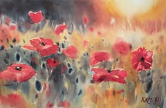 Evening glow (katekos) Tags: flowers red art floral watercolor painting poppies watercolour watercolours kwiaty akwarela floralwatercolor katekos