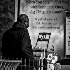 """""""Treat The Little Ones With Love For They Are Our Future"""", Martin Luther King, Jr. Avenue, Historic Anacostia, Washington, DC (Gerald L. Campbell) Tags: street urban bw signs love youth digital washingtondc blackwhite dc community citylife streetphotography squareformat spirituality aloneness injustice blackmale socialdocumentary indifference alienation urbanphotography inequality socialjustice historicanacostia spiritualindifference canonsx50hs"""