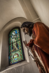 Statue (tamstth) Tags: window statue architecture canon hungary cathedral pray jesus budapest indoor christian var bless vr curch troth vajdahunyad identikit