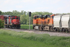 Generations (MILW157) Tags: santa railroad burlington cn train switch graphics quad canadian national local fe northern byron signal bnsf gp9 lomira