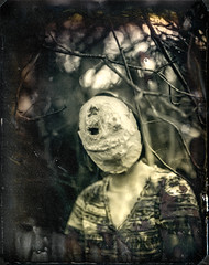 Wet Plate Creepy Mask (Kenneth Kohl) Tags: 8x10 dry mask woods diy outdoor format film wet bw distorted bokeh dust plate black creepy large cracked analog white