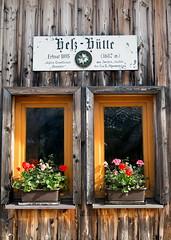 "Nationalpark Gesäuse: Alpine Hut ""Hesshütte"" (1687m) (hl_1001) Tags: austria styria nationalpark gesäuse mountain alpinehut window flowers sign"