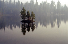 III (Super G) Tags: california trees mist lake reflection film dawn mirror three unitedstates smoke rim fujicolor200 pollockpines gerlelake 20140530carn1