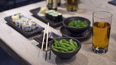 March 19 (katie.biese) Tags: wood food seaweed green beer vegetables sushi table happy japanese avocado ginger healthy cucumber salmon craft hour veggies wasabi edamame