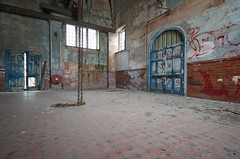 Winding house (tombomb20) Tags: door house abandoned fire chains peeling paint decay chain machinery tiles winding extinguisher derelict ue colliery urbex 2015 tombomb20