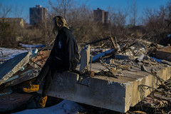 Looking back on the city (ben.dehaan95) Tags: city sky ontario canada building tree girl concrete 50mm bush focus ruins sony sharp explore distant wasteland a6000