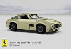 Ferrari 410 S Berlinetta (Scaglietti - 1955) (lego911) Tags: auto italy classic 1955 sports car model italian lego render under over s ferrari 1950s million coupe challenge lemans thousand cad sportscar racer 89 povray moc scaglietti berlinetta 410 ldd miniland 0594 foitsop lego911 overamillionunderathousand 0594cm