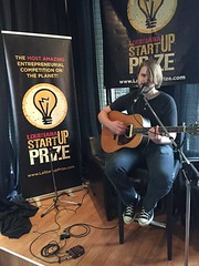 Josh Hollis kicking up the Louisiana StartUp Prize hipster to a higher level! This is how we do lunch at the Startup Prize. #entrepreneurial #LiveMusic #Local