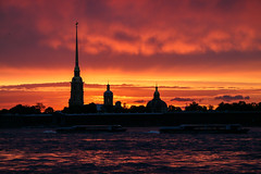 Amazing sunset view from the Neva River, Saint Petersburg, Russia (inchiki tour) Tags: travel sunset building tower church architecture river photo europe cathedral russia dusk landmark saintpetersburg orthodox  leningrad neva 2014      peterandpaulfortress petropavlovskayakrepost peterandpaulcathedral