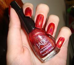 Vermelho Surreal - Jade (Rzmercury) Tags: red shine vermelho nails national jade marca esmaltes brilhante polishes hologrficos