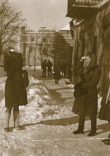 Szydłowiec, lata 40-te, widok na Ratusz od strony ul. Kieleckiej