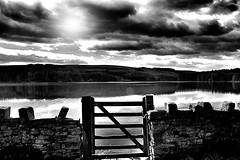 Give me sunshine ! (CJS*64) Tags: bw sun water monochrome sunshine landscape mono blackwhite nikon gate reservoir cjs entwistle entwistlereservoir flickrunitedaward d3100 nikond3100 craigsunter cjs64
